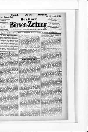 Berliner Börsen-Zeitung vom 25.04.1878