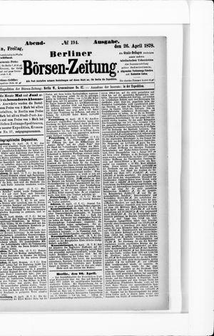 Berliner Börsen-Zeitung vom 26.04.1878