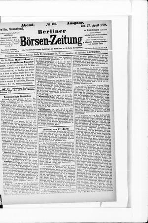 Berliner Börsen-Zeitung vom 27.04.1878