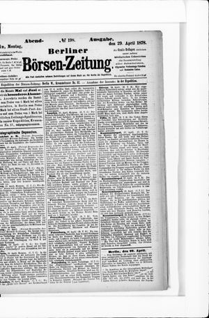 Berliner Börsen-Zeitung vom 29.04.1878