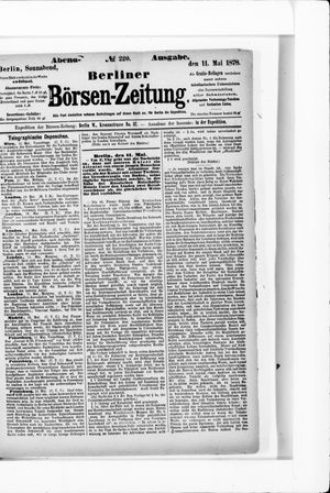 Berliner Börsen-Zeitung vom 11.05.1878