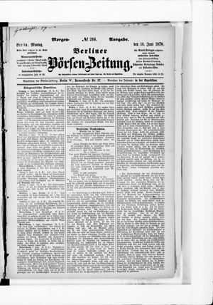 Berliner Börsen-Zeitung vom 10.06.1878