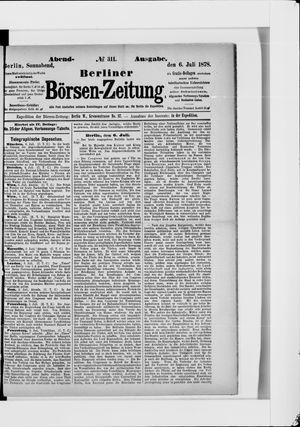 Berliner Börsen-Zeitung vom 06.07.1878