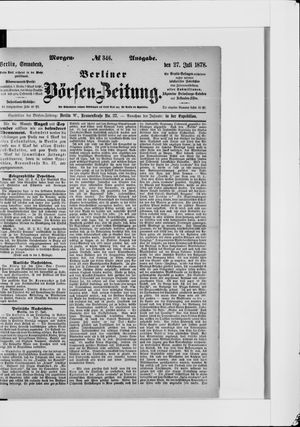 Berliner Börsen-Zeitung vom 27.07.1878