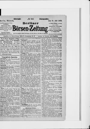 Berliner Börsen-Zeitung vom 31.07.1878