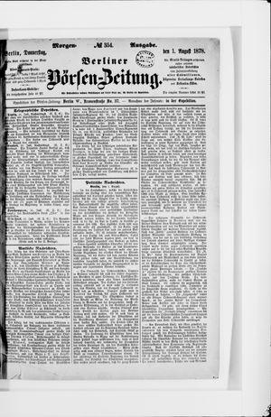 Berliner Börsen-Zeitung vom 01.08.1878