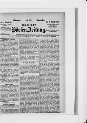 Berliner Börsen-Zeitung vom 03.08.1878