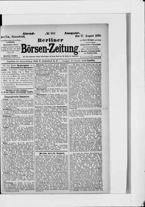 Berliner Börsen-Zeitung vom 17.08.1878