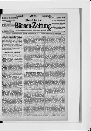 Berliner Börsen-Zeitung vom 22.08.1878