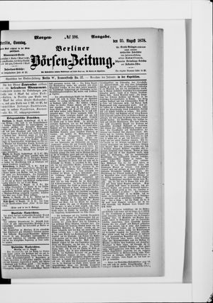 Berliner Börsen-Zeitung vom 25.08.1878