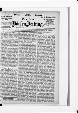 Berliner Börsen-Zeitung vom 14.09.1878