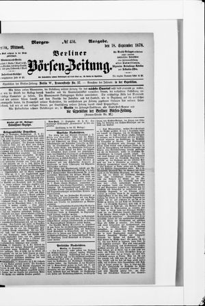 Berliner Börsen-Zeitung vom 18.09.1878