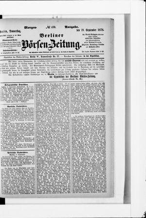 Berliner Börsen-Zeitung vom 19.09.1878