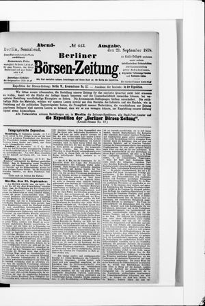 Berliner Börsen-Zeitung vom 21.09.1878