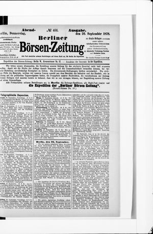 Berliner Börsen-Zeitung vom 26.09.1878