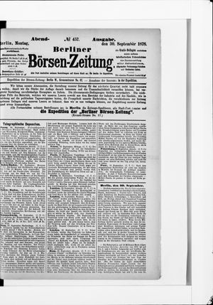Berliner Börsen-Zeitung vom 30.09.1878