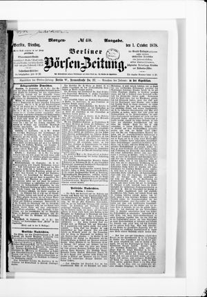 Berliner Börsen-Zeitung vom 01.10.1878