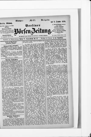 Berliner Börsen-Zeitung vom 09.10.1878
