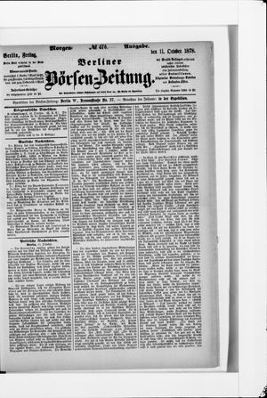 Berliner Börsen-Zeitung vom 11.10.1878