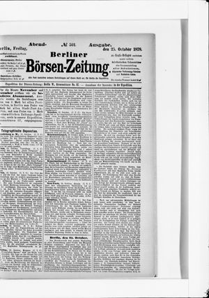 Berliner Börsen-Zeitung vom 25.10.1878