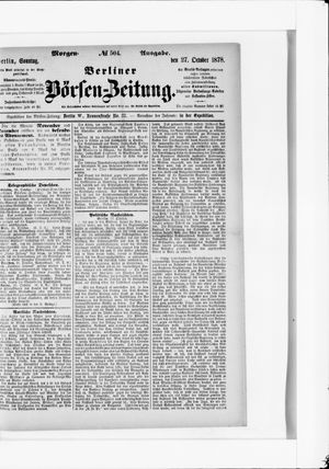 Berliner Börsen-Zeitung vom 27.10.1878