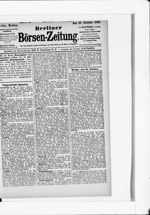 Berliner Börsen-Zeitung vom 28.10.1878