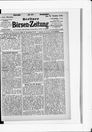 Berliner Börsen-Zeitung vom 29.10.1878