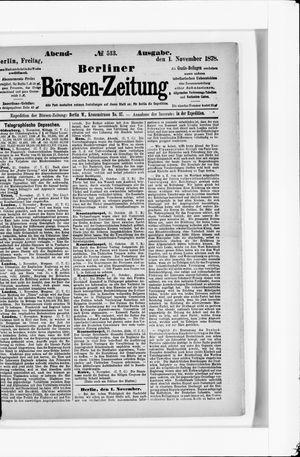 Berliner Börsen-Zeitung vom 01.11.1878