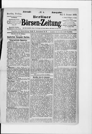 Berliner Börsen-Zeitung vom 03.01.1879