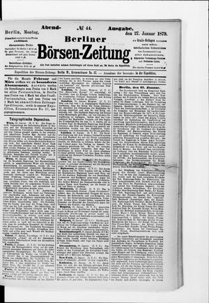 Berliner Börsen-Zeitung vom 27.01.1879