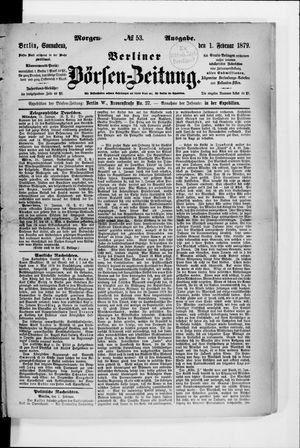 Berliner Börsen-Zeitung vom 01.02.1879