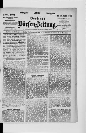 Berliner Börsen-Zeitung vom 18.04.1879