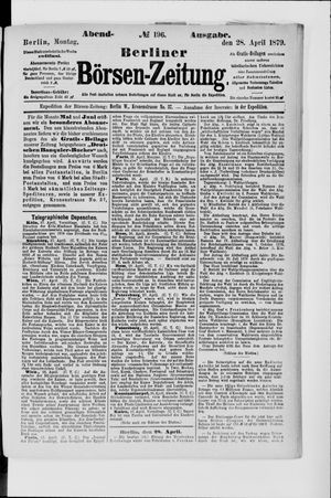 Berliner Börsen-Zeitung vom 28.04.1879