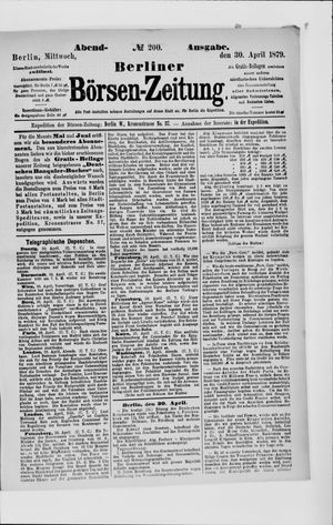 Berliner Börsen-Zeitung vom 30.04.1879
