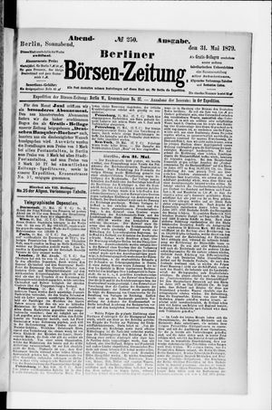 Berliner Börsen-Zeitung vom 31.05.1879