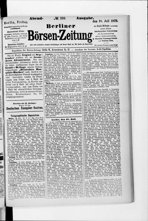 Berliner Börsen-Zeitung vom 18.07.1879