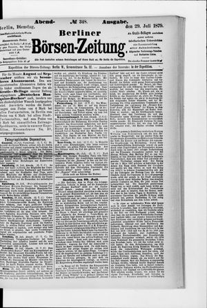 Berliner Börsen-Zeitung vom 29.07.1879