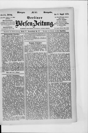 Berliner Börsen-Zeitung vom 08.08.1879