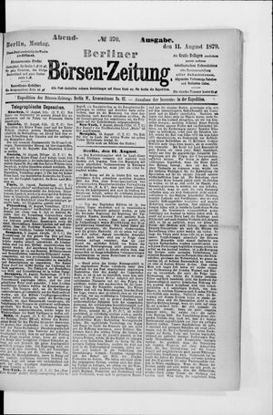Berliner Börsen-Zeitung vom 11.08.1879