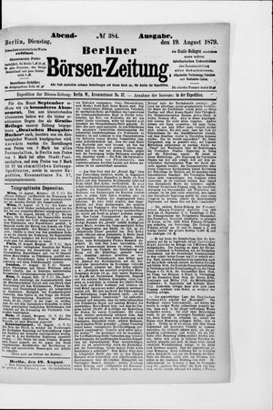 Berliner Börsen-Zeitung vom 19.08.1879
