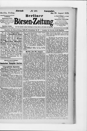 Berliner Börsen-Zeitung vom 29.08.1879