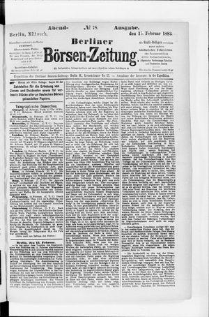 Berliner Börsen-Zeitung vom 15.02.1882