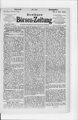 Berliner Börsen-Zeitung vom 01.06.1882
