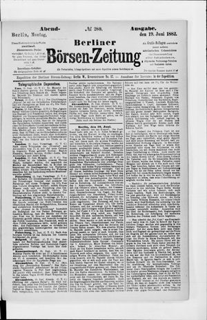 Berliner Börsen-Zeitung vom 19.06.1882