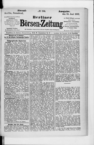 Berliner Börsen-Zeitung vom 24.06.1882