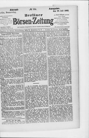 Berliner Börsen-Zeitung on Jul 20, 1882
