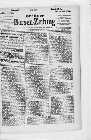 Berliner Börsen-Zeitung vom 21.07.1882