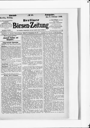Berliner Börsen-Zeitung vom 09.02.1883