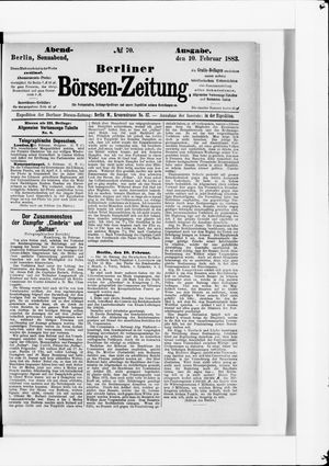 Berliner Börsen-Zeitung vom 10.02.1883