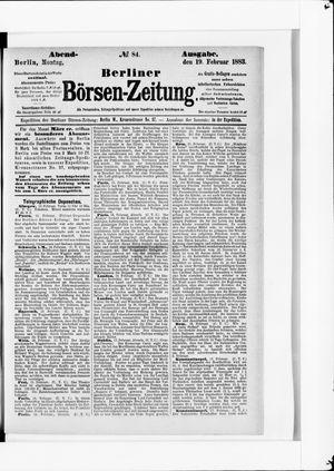 Berliner Börsen-Zeitung vom 19.02.1883